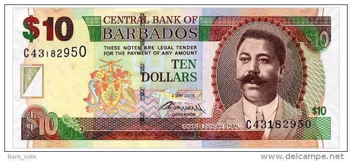BARBADOS 10 DOLLARS 2012 Pick 68c Unc - Barbados