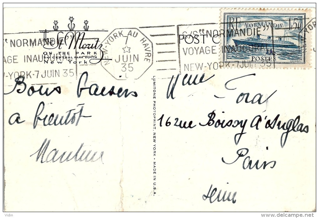 FRANCE NORMANDIE New York Au Havre Superbe OblitérationVoyage Inaugural Du 7 Juin 1935 - Poste Aérienne