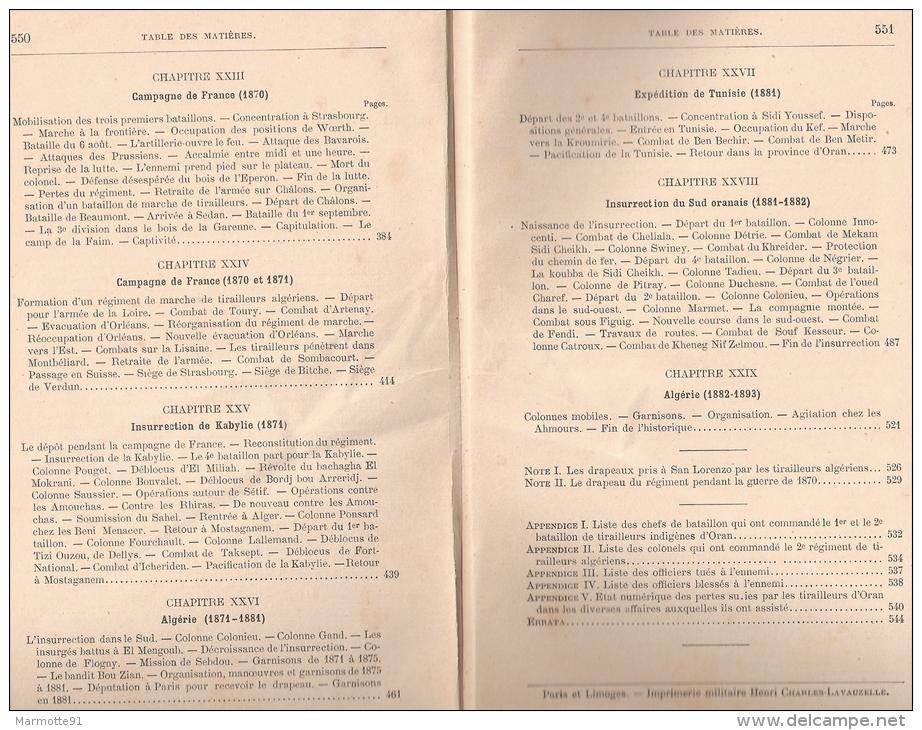 HISTORIQUE 2 REGIMENT TIRAILLEURS ALGERIENS ARMEE AFRIQUE COLONIE ALGERIE - Livres