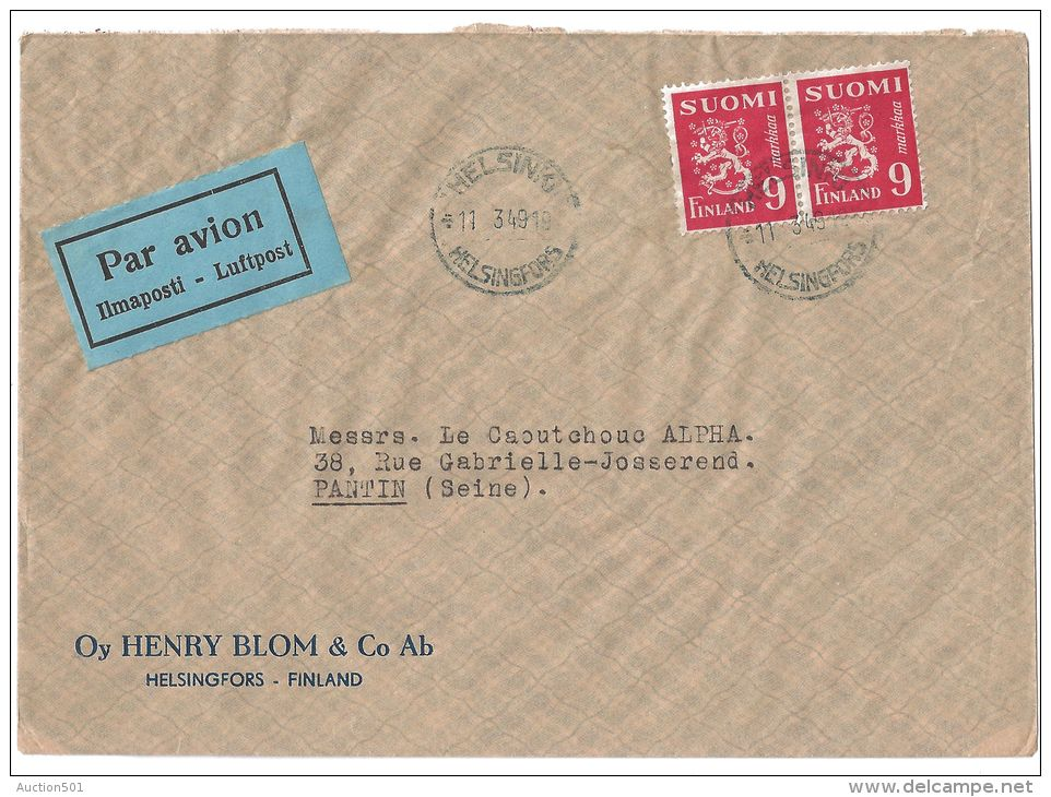 14084 AIRMAIL To FRANCE HELSINKI 11 3 49 With Pair Of 9 Markaa LION - Finlande