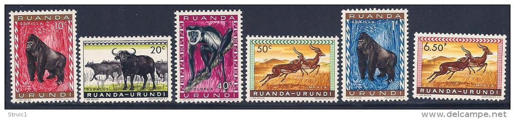 Ruanda-Urundi, Scott # 137-41,146 Mint Hinged Animals, 1959 - Ruanda-Urundi