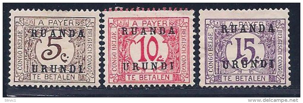 Ruanda-Urundi, Scott # J1-3 Mint Hinged Belg. Congo Postage Due, Overprinted, 1924, #J3 Has No Gum - Postage Due: Mint/hinged Stamps