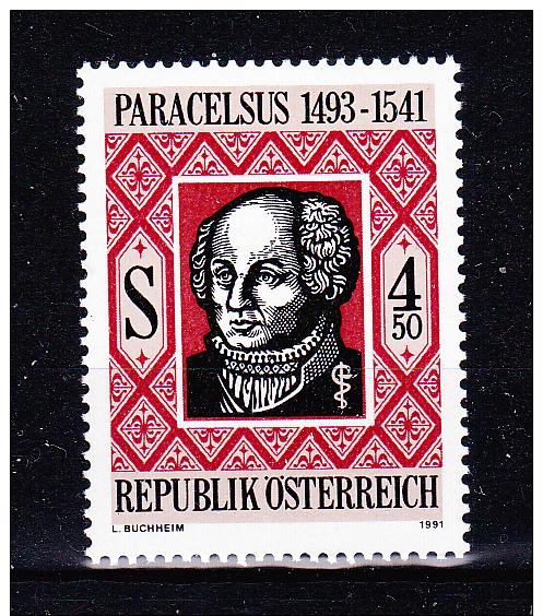 AUSTRIA   1991 , Paracelsus 450  Years   , Y&T  #  1868,    Cv  1.20  E , **  M N H , V V F - 1945-.... 2a Repubblica
