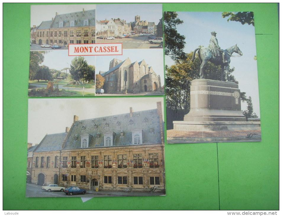 29 ) Mont Cassel : 3 Cp Neuves:statue Marechal Foch ,place De Gaulle,jardin Public Et Collegiale Notre Dame - Autres Communes