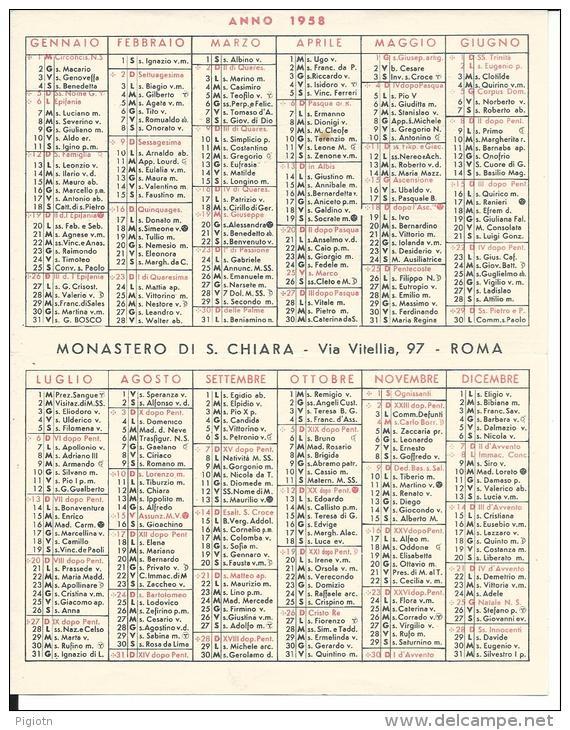 CAL099 - CALENDARIETTO 1958 - MONASTERO DI S. CHIARA - Calendriers