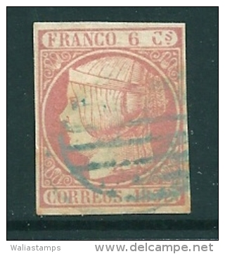 Spain 1852 Edifil 12 SG 16 Used Parrilla Azul - 1850-68 Kingdom: Isabella II