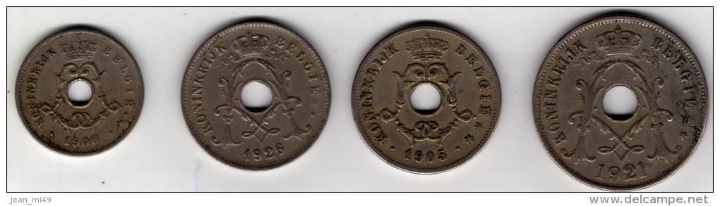 BELGIQUE - LOT DE 4 MONNAIES - 5 CENT 1906 - 10 Cent 1905 - 10 Cent 1926 - 25 Cent 1921 - Non Classés