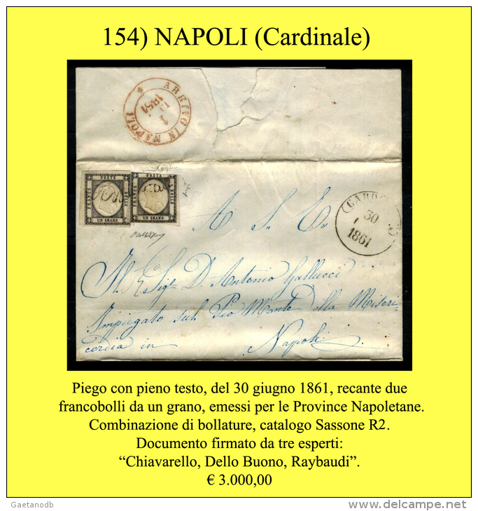 Cardinale-00154 - Piego (con Testo) - Documento Postale RR Al Sassone!!! - 1861-78 Vittorio Emanuele II