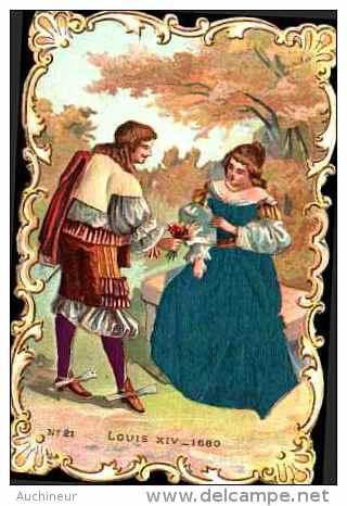 Chromo Bords Dentelés Tissu Soie Satin - Costume N°21 Louis XIV, 1680 - Cromo