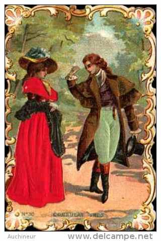 Chromo Bords Dentelés Tissu Soie Satin Festonnée -costume N°30 Consulat, 1800 - Cromo