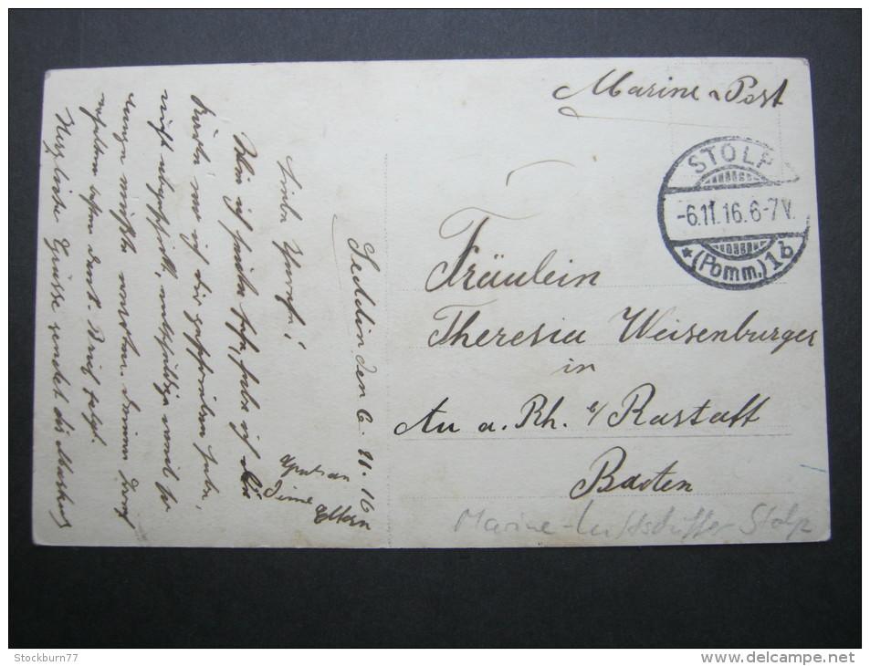 1916, STOLP,  Feldpostkarte  Als Marinepost ( Luftschiffer) - Danzig