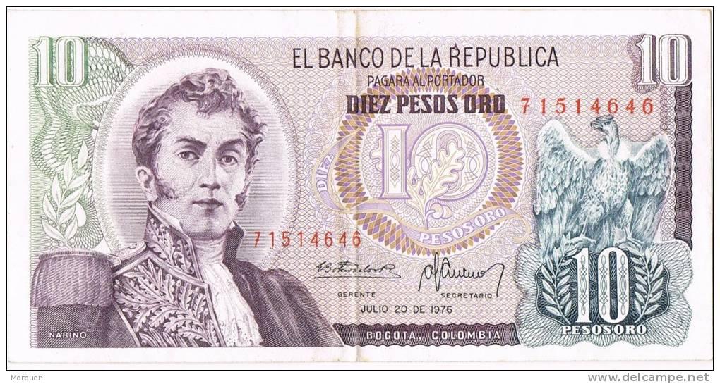 Billete 10 Pesos COLOMBIA 1976, Nariño Y Parque De San Agustin - Colombia