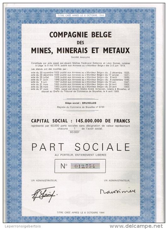 Action Ancienne COMPAGNIE BELGE DES MINES MINERAIS ET METAUX - Mines