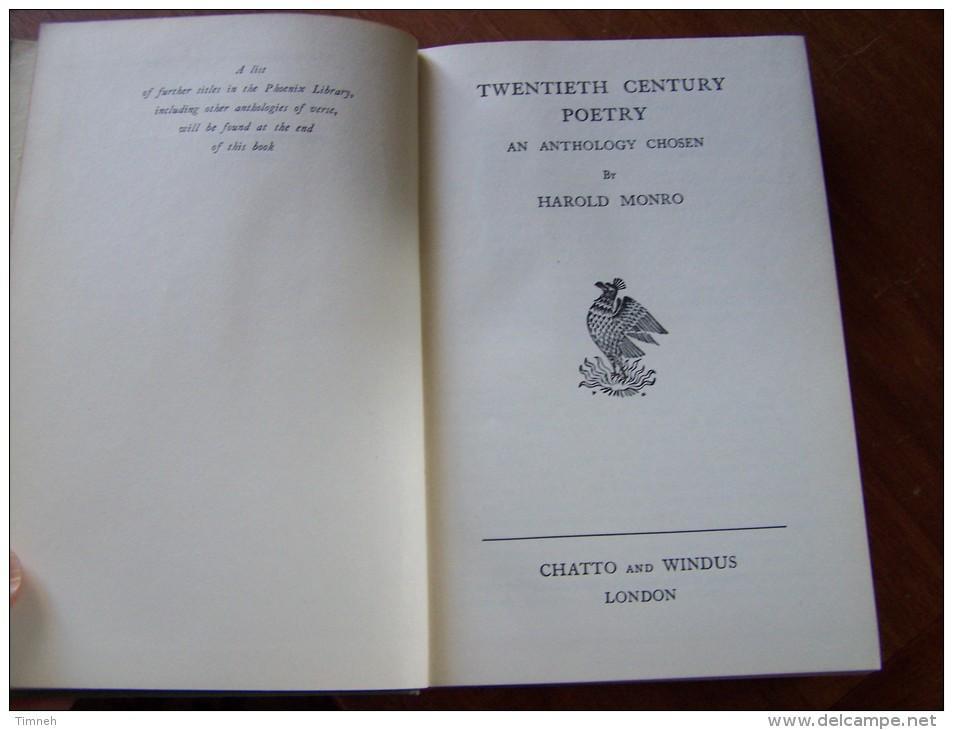 TWENTIETH CENTURY POETRY AN ANTHOLOGY CHOSEN BY HAROLD MONRO 1932 CHATTO And WINDUS LONDON - Poésie