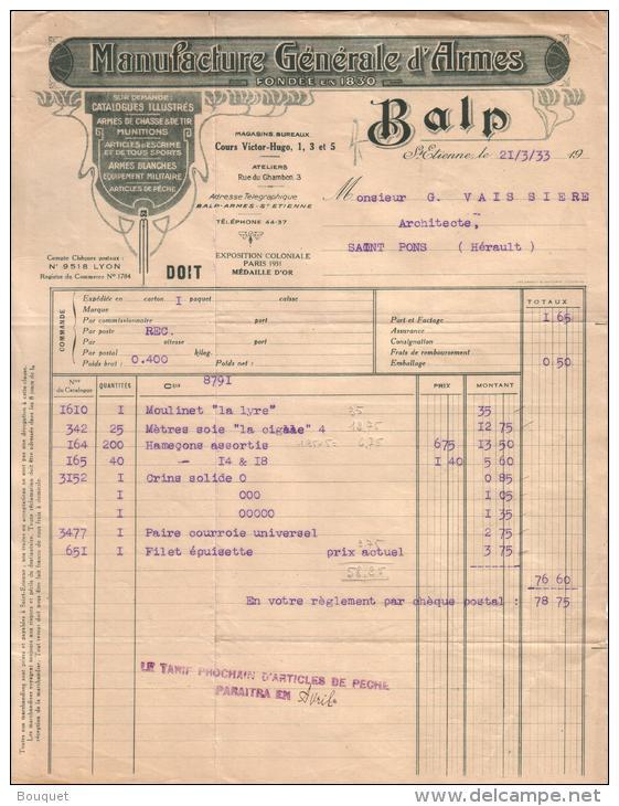 LOIRE - SAINT ETIENNE - ARMES DE CHASSE - ARMES BLANCHES - ARTICLES DE PÊCHE - BALP - 1933 - France