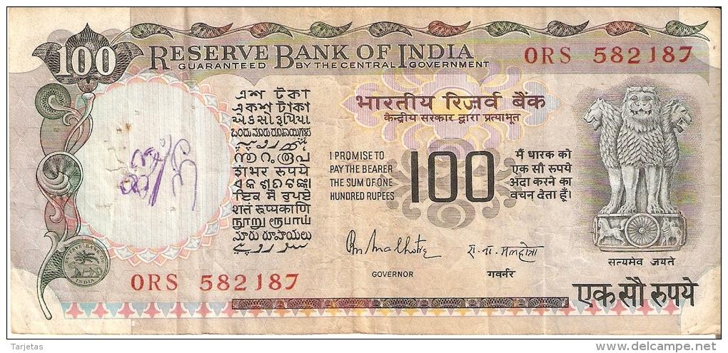 BILLETE DE LA INDIA DE 100 RUPEES    (BANKNOTE) FIRMAS DE COLOR NEGRO - India