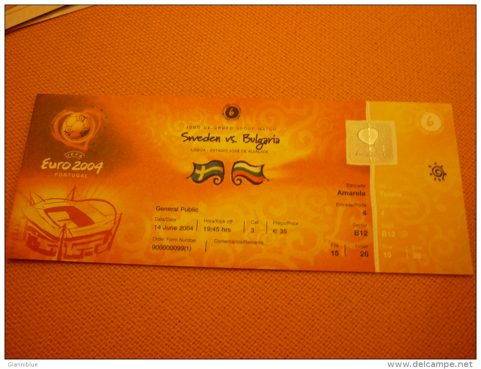 Sweden-Bulgaria Euro 2004 Football Match Ticket Stub 14/06/2004 - Match Tickets