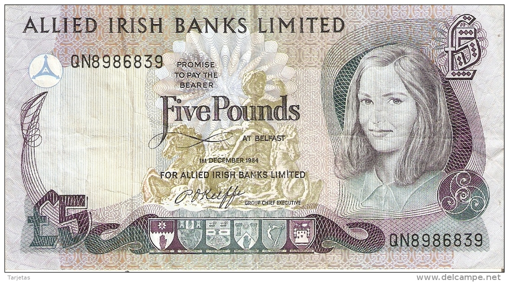 BILLETE DE IRLANDA DE 5 POUNDS DEL AÑO 1984  (BANKNOTE)  (RARO) - Irlanda