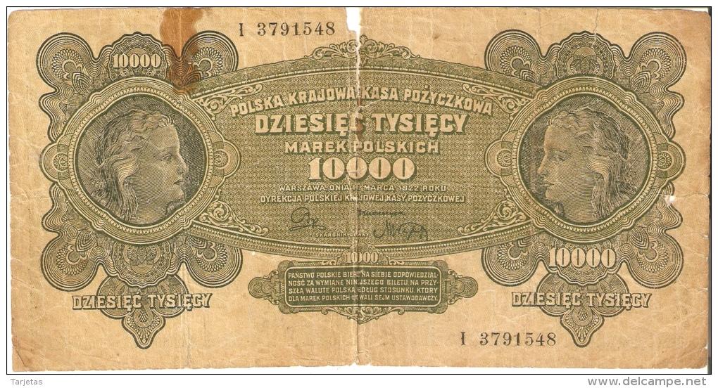 BILLETE DE POLONIA DE 10000 MAREK DEL AÑO 1922 (BANK NOTE) (rotura) - Polonia