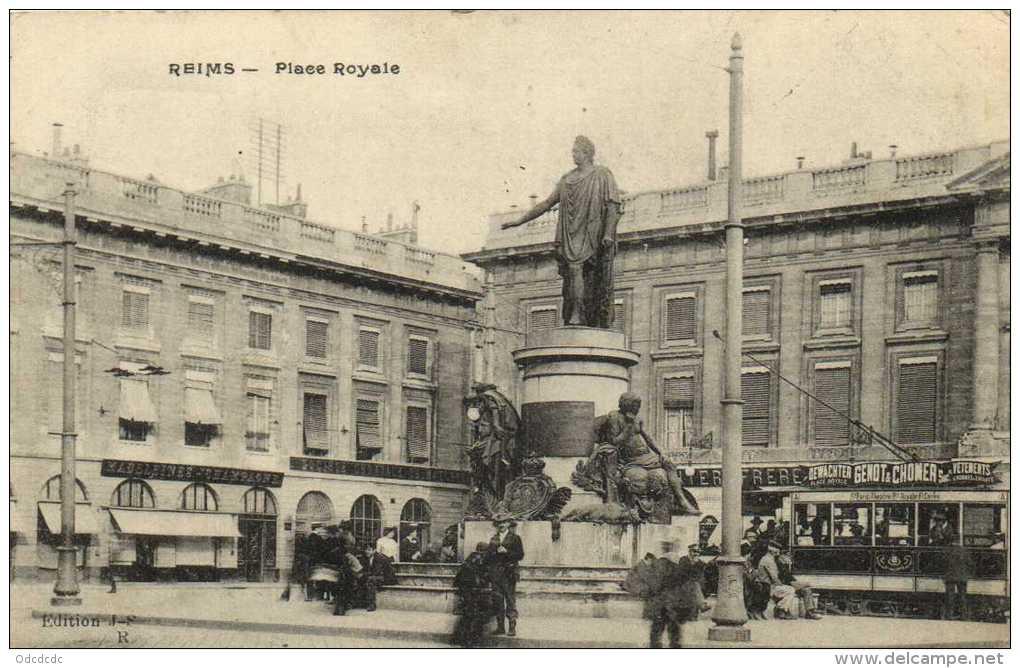 REIMS  Place Royale TRAM Dewatcher Genot & Chomer Société Generale  Recto Verso - Reims