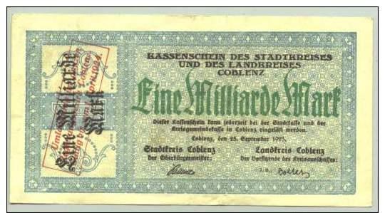(1018328) 1 Milliarde Mark, Coblenz, 25. September 1923 # Koblenz, Notgeld, Inflation, Geldschein - [11] Emissioni Locali