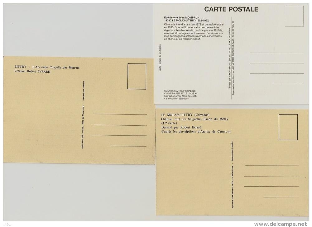 LITTRY EBENISTERIE JEAN MOMBRUN LOT DE 7 CARTES CPSM MEUBLES CHATEAU CHAPELLE  BON ETAT - France