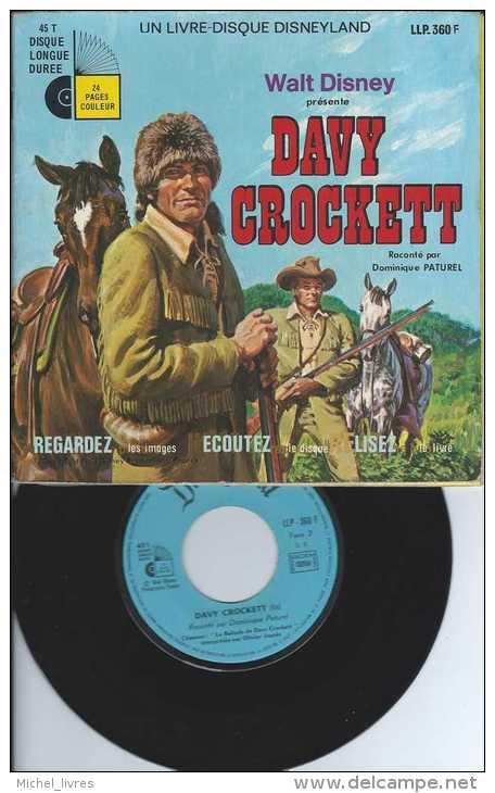 Livre-Disque Disneyland - David Crockett Raconté Par Dominique Paturel - 1972 - TBE - Disques & CD