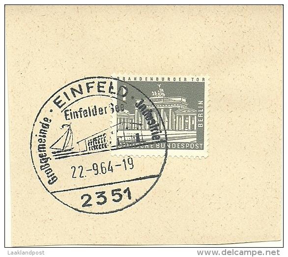 BRD Briefstuck Sonderstempel Einfeld 2351 Grossegemeinde Industrie Einfeldersee  22-9-1964  Sailingship - [7] West-Duitsland