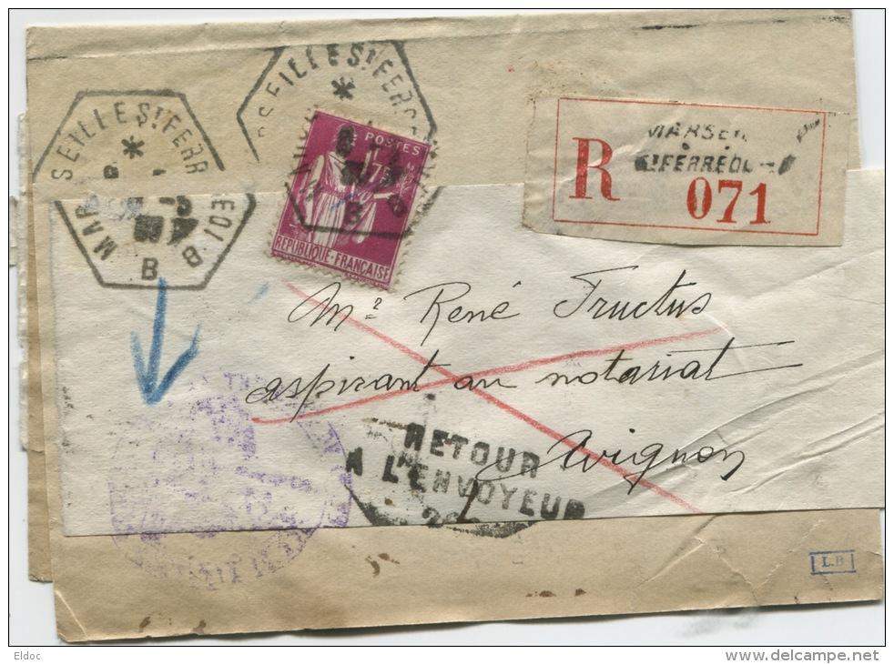 """AVIGNON GARE (Vaucluse) Griffe """"Inconnu à L'appel Des Facteurs D'Avignon"""" - Marcophilie (Lettres)"""