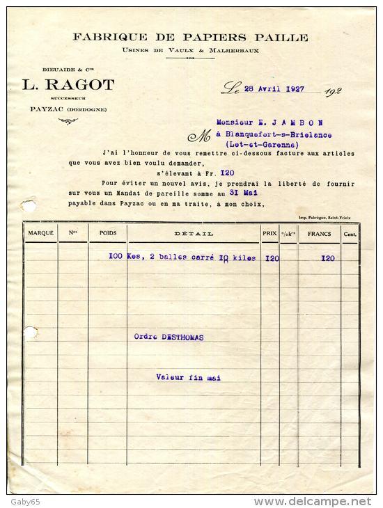 24.DORDOGNE.PAYZAC.FABRIQUE DE PAPIERS PAILLE.USINES DE VAULX & MALHERBAUX.DIEUAIDE & Cie.L.RAGOT Succ. - Imprimerie & Papeterie