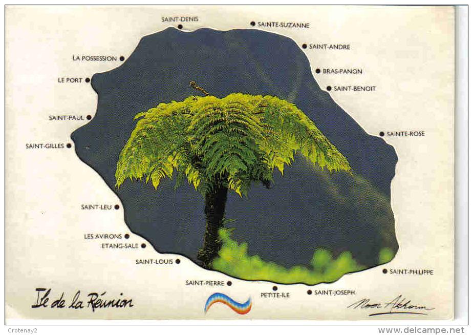 Ile De La Réunion Belle Carte En 3 Volets Avec Les Villes De L´Ile En 1991 - La Réunion