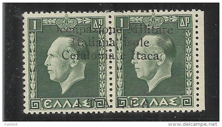OCCUPAZIONE ITALIANA CEFALONIA E ITACA KEFALONIA ITHACA 1941 KING GEORGE II RE GIORGIO ARGOSTOLI 1 + 1 D MNH SIGNED - Cefalonia & Itaca