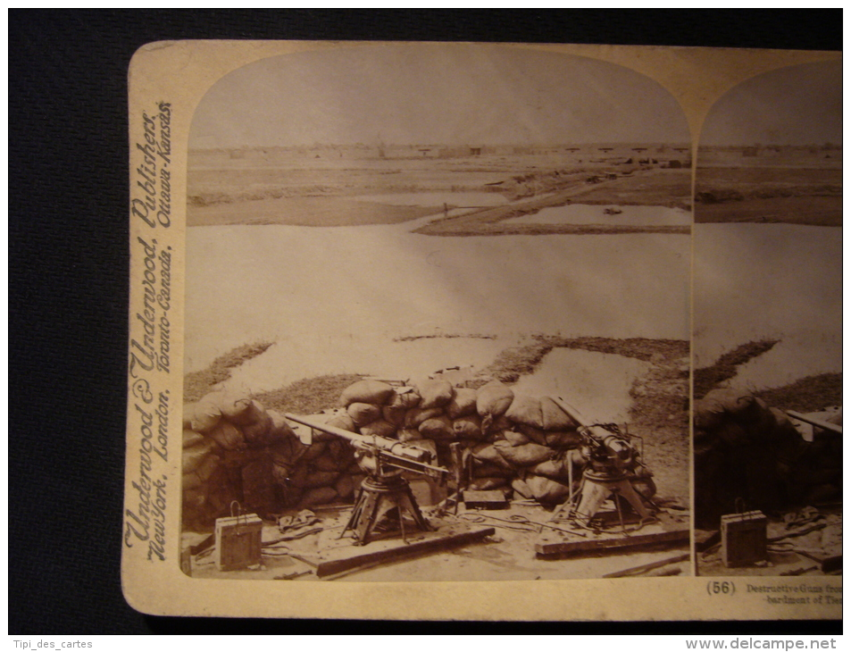 """Destructive Guns From H.M.S. """"Terrible"""" And Distant Burning City Fired By Their Shells, Bombardment Of Tientsin China - Photos Stéréoscopiques"""