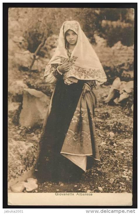 ALBANIA ALBANIEN WOMAN IN COSTUME OLD POSTCARD #114 - Albanien