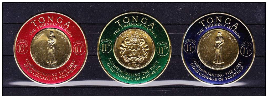 TONGA   1963   - First Gold Coinage Anniv.   Y&T   #   128/3 + Air # 1/6 + Serv # 7 , Cv  33.75 E . ** M N H  , V V F - Tonga (1970-...)