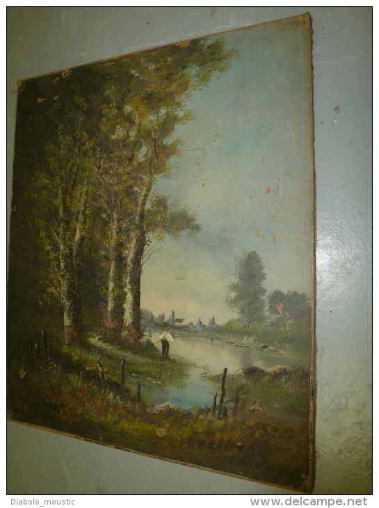 TABLEAU Ancien, Huile-sur-toile Peinture XIXe Signé Edouard DUPARC (école BARBIZON) :pêche Bord De Forêt,village Au Fond - Huiles