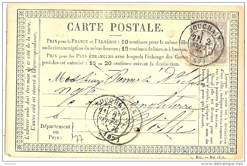 LBL20/5- CPO 5-76  VOYAGEE SEPTEMBRE 1876 - Entiers Postaux