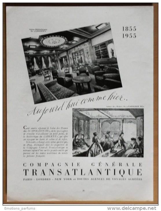 Pub Papier  Tourisme Voyage Mer 1955 Paquebot Cie Transatlantique Salon Du Liberte Et Du Napoleon III Bibliotheque - Publicités
