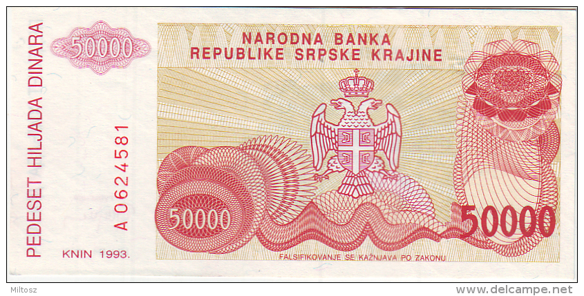 Croatia Srpska Krajina (Knin) 50.000 Dinara 1993 - Croatie