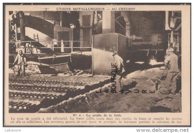 71--L'USINE METALLURGIQUE AU CREUSOT--La Coulée De La Fonte--beau Plan Animé--cpsm Pf - Le Creusot