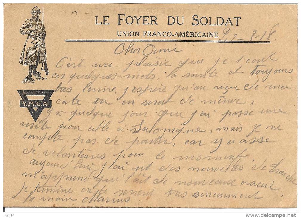 Franchise Militaire Le Foyer Du Soldat YMCA Union Franco-Americaine - Marcophilie (Lettres)