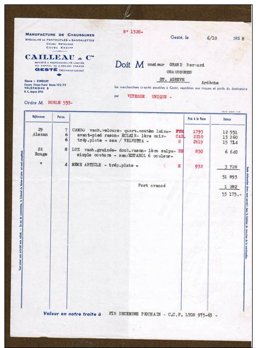 2 Factures CAILLEAU & Cie Chaussures Gesté ( Timbre Fiscal ) - France
