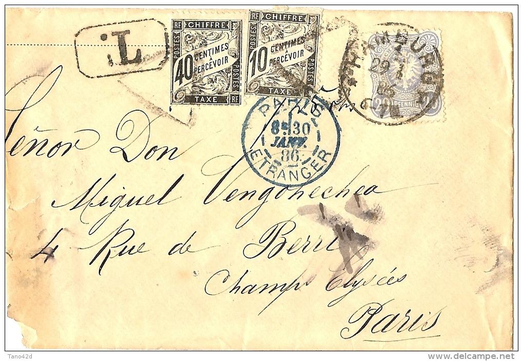 LBL20/2- DUVAL 40c+10c SUR LETTRE TAXEE EN PROVENANCE D'HAMBURG JANVIER 1886 - Postage Due