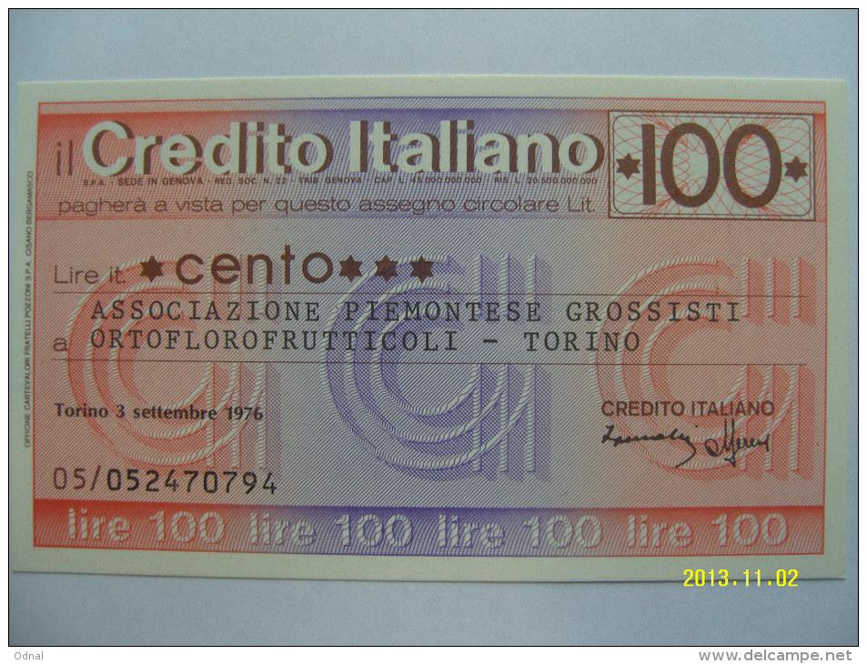 MINIASSEGNI  CREDITO ITALIANO FDS   100  LIRE  ASS.PIEM.GROS.ORTOFL.TORI NO - [10] Assegni E Miniassegni
