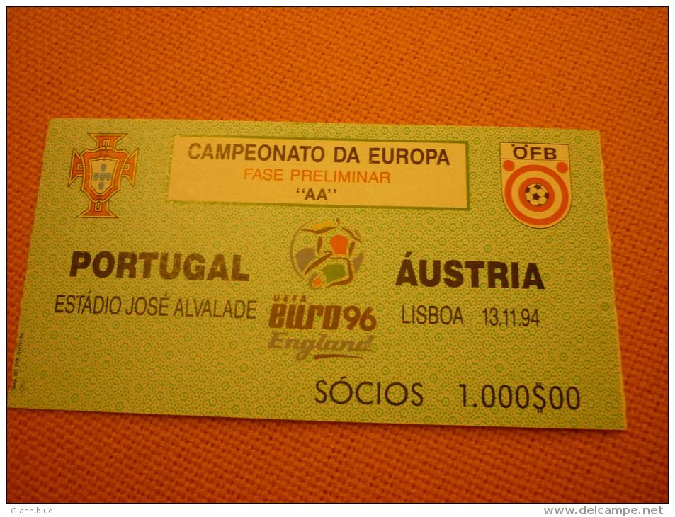 Portugal-Austria Football Match Ticket Stub 13/11/1994 - Match Tickets