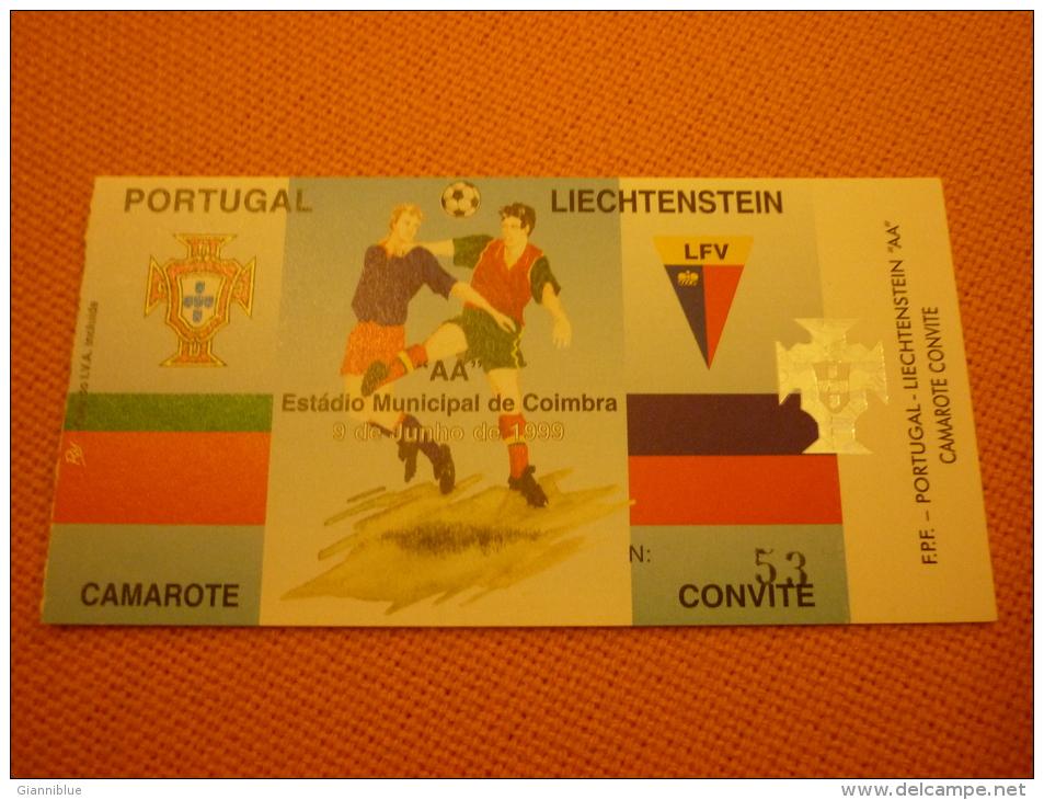 Portugal-Liechtenstein Football Match Ticket Stub 09/06/1999 - Match Tickets