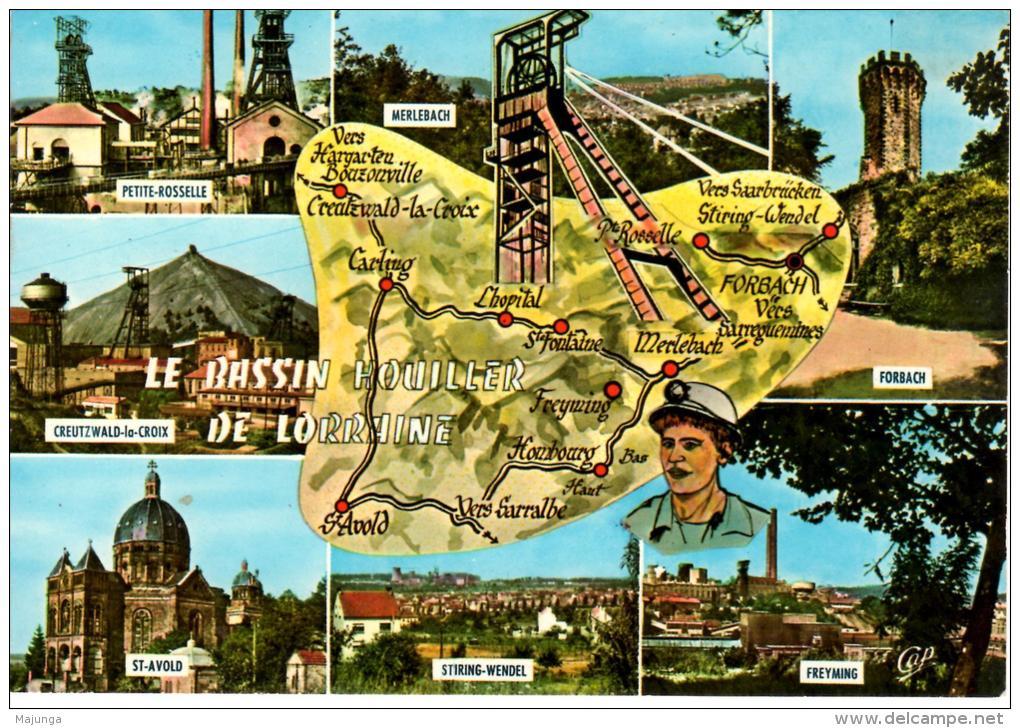 CPA - LORRAINE - LE BASSIN HOUILLER - PETITE ROSELLE - MERLEBACH - CREUTZWALD - STIRING.WENDEL - FREYMING -CAP N°1868 - Lorraine
