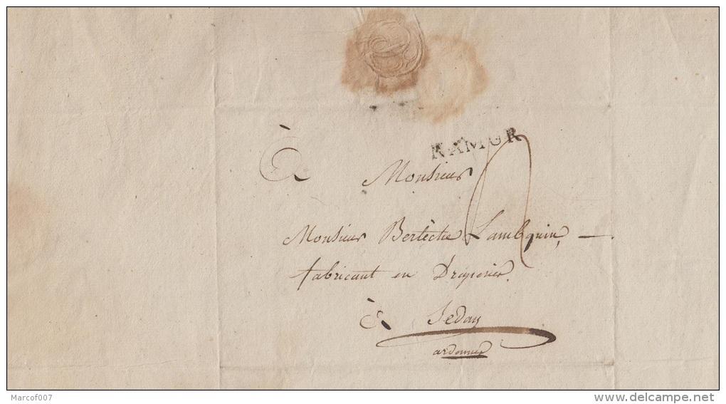 PRECURSEUR DE NAMUR -> SEDAN FABRIQUANT DROGERIE + GRIFFE NAMUR NOIRE + TEXTE ET SIGNATURE A VOIS - 1794-1814 (Periodo Frances)
