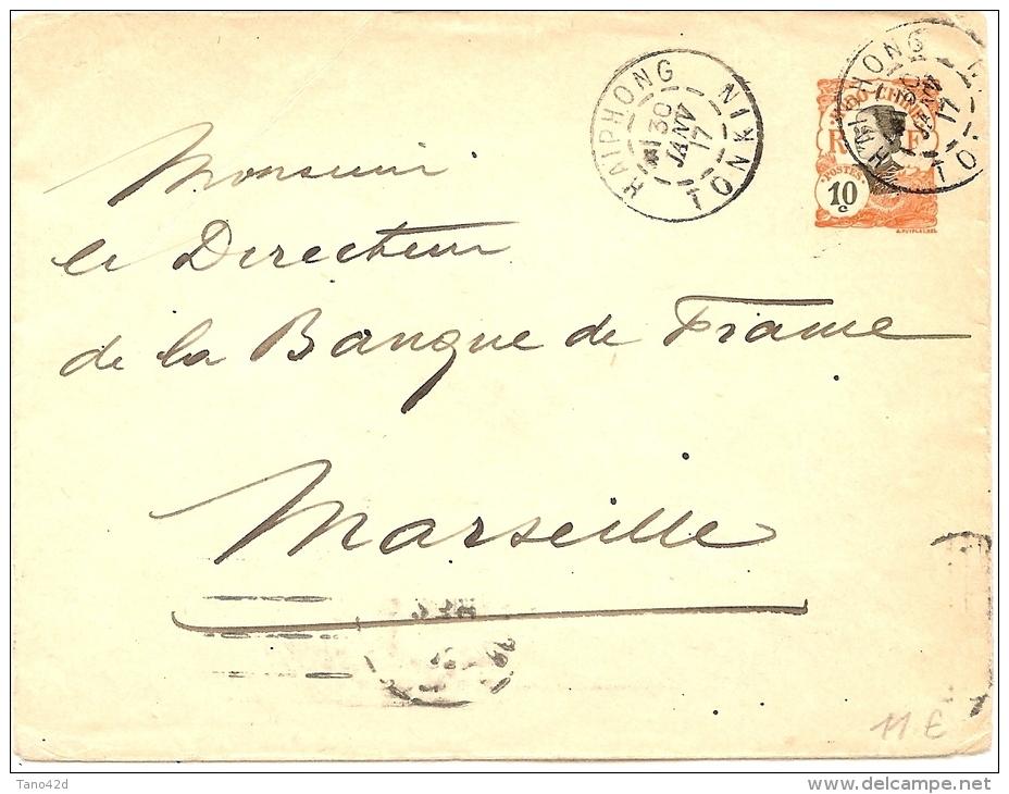LANV7 - INDOCHINE EP ENVELOPPE 10c VOYAGEE HAIPONG / MARSEILLE 30/1/1917 - Sonstige