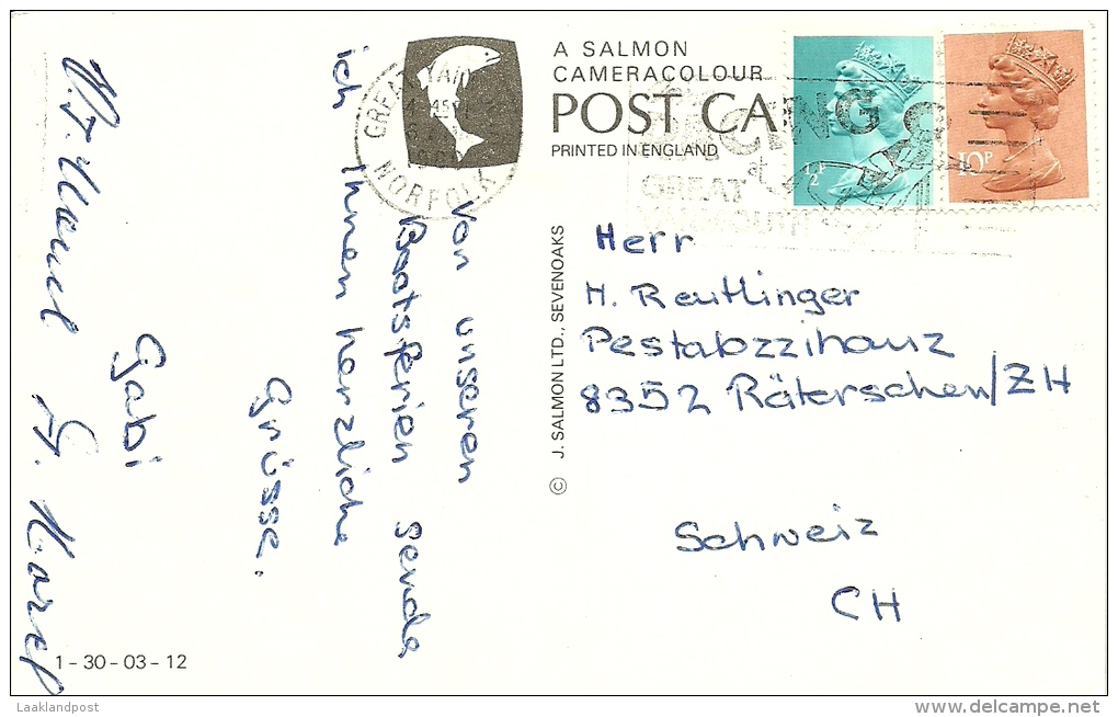 GB Coulor Postcard HUNSETT MILL, River Ant., Norfolk Broads Used To Schweiz Mill, Moulin - Windmolens